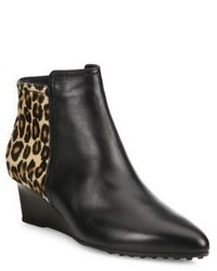 Tod's Leather Leopard Print Calf Hair Point Toe Wedge Booties