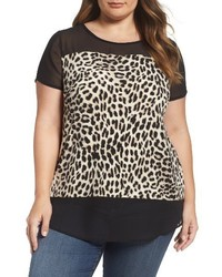 Vince Camuto Plus Size Leopard Song Mixed Media Top