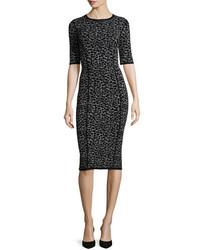 Michael Kors Michl Kors Leopard Print Half Sleeve Midi Dress Slateblack