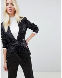 Fashion Union Satin Leopard Tie Front Blazer Co Ord Leopard