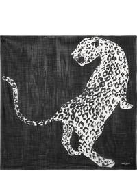 Saint Laurent Printed Wool Scarf Black
