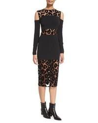 Leopard burnout cold shoulder dress black medium 886624