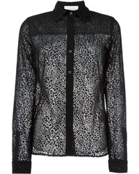 See by Chloe See By Chlo Leopard Effect Sheer Shirt