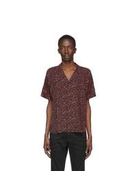 Saint Laurent Black And Pink Leopard Shirt