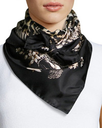 Roberto Cavalli Foulard Leopard Print Silk Square Scarf Black Pattern