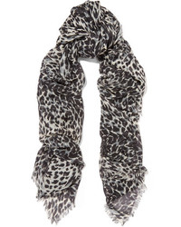 Saint Laurent Leopard Print Cashmere And Silk Blend Scarf Gray