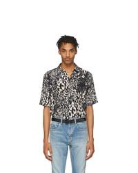 Saint Laurent Black And Grey Silk Leopard Shirt
