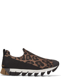 Dolce & Gabbana Ibiza Leopard Print Neoprene Slip On Sneakers Leopard Print
