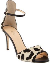 Barneys New York Leopard Print Pony Hair Ankle Strap Sandal