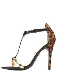 Charlotte Russe Anne Michelle Leopard Metallic T Strap Heels