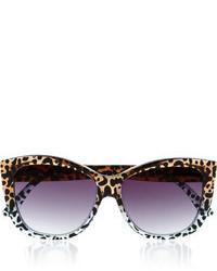 Le Specs Hatter Leopard Print Cat Eye Acetate Sunglasses