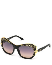 Roberto Cavalli Taygeta Gradient Animal Trim Sunglasses Black