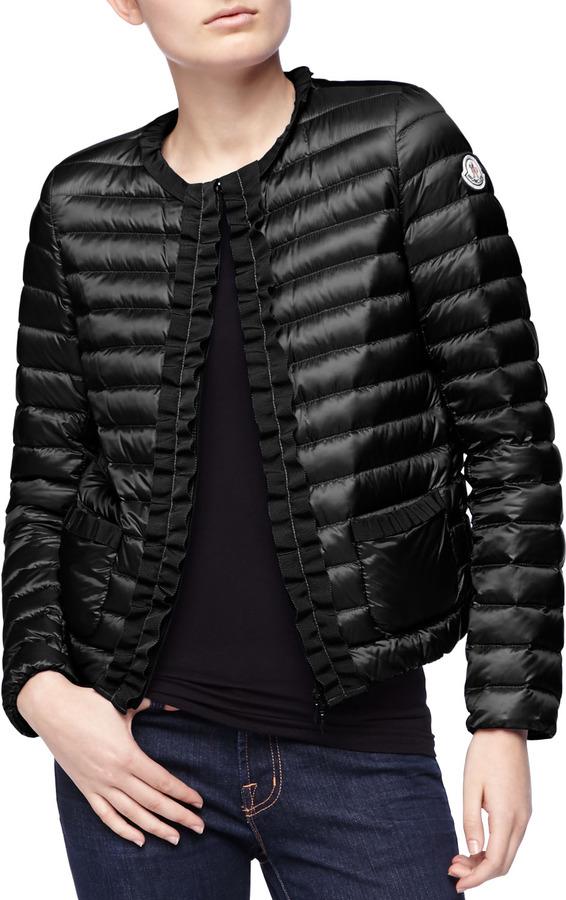 013eb3d47 $890, Moncler Ribbon Trim Puffer Jacket Black
