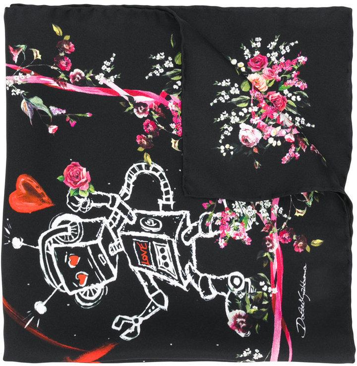 Dolce & Gabbana Love Patterned Neck Scarf