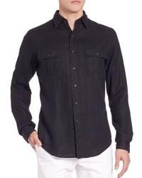 Black Linen Long Sleeve Shirt