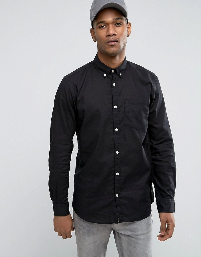 on feet at sells multiple colors $56, Jack and Jones Jack Jones Originals Linen Mix Long Sleeve Slim Fit  Button Down Shirt