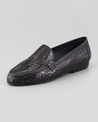 Sesto Meucci Nina Woven Leather Loafer Black