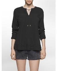 Calvin Klein Crinkle Texture Long Sleeve Blouse