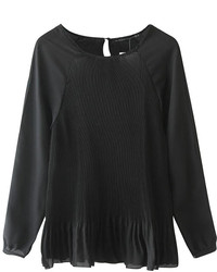 ChicNova Pleated Round Neck Long Sleeves Blouse