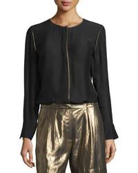Elizabeth and James Davidson Long Sleeve Piped Jersey Blouse Black