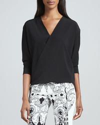 Faux wrap silk blouse black medium 245767