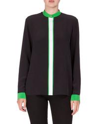 Kenzo Long Sleeve Colorblock Silk Crepe De Chine Blouse Black