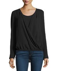 Neiman Marcus Long Sleeve Faux Wrap Blouse Black