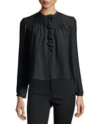 Isabel Marant Long Sleeve Pintuck Ruffle Blouse Black