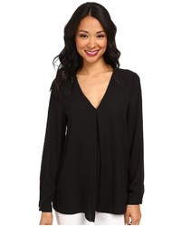 Vince Camuto Long Sleeve V Neck Blouse W Inverted Front Pleat