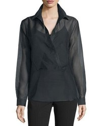 Michael Kors Michl Kors Collection Long Sleeve Wrap Blouse Black