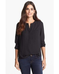 Nydj henley blouse black medium medium 245717