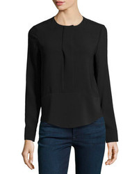 J Brand Ready To Wear Jersey Long Sleeve Blouse Black