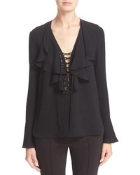 Yigal Azrouel Ruffle Trim Crepe Georgette Blouse