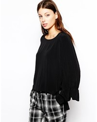 See by Chloe See By Chlo Double Cuff Blouse In Crinkle Viscose