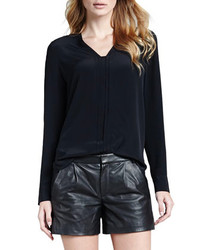Vince Silk Long Sleeve Blouse Black