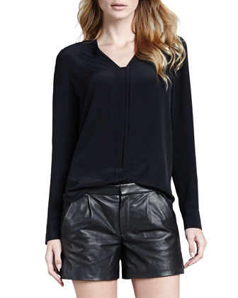 Vince Silk Long Sleeve Blouse Black