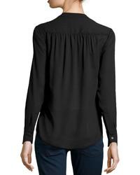 25c6e89e43dc50 ... Neiman Marcus Wrap Front Long Sleeve Blouse Black