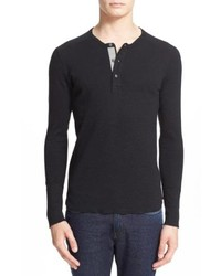 Black Long Sleeve Henley Shirt