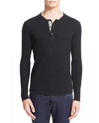Black Long Sleeve Henley Shirt