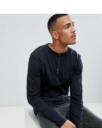replika T Sleeve Henley T Shirt In Black