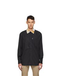 Versace Black Barocco Collar Shirt