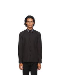 Fendi Black Embroidered Collar Shirt