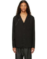 Sulvam Black Silver Rayon Open Collar Shirt