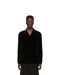 SASQUATCHfabrix. Black Velvet Open Collar Shirt