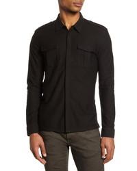 John Varvatos Easy Fit Knit Button Up Shirt