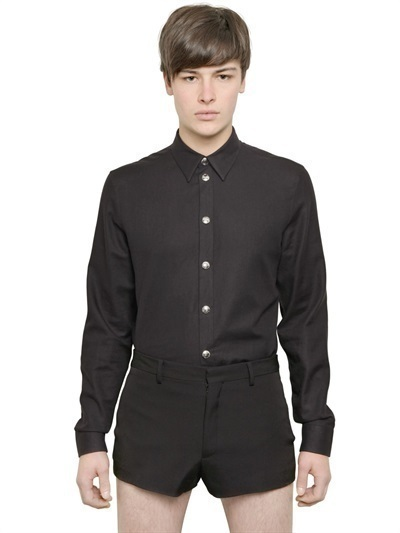 Givenchy Snap Buttoned Cotton Wool Twill Shirt