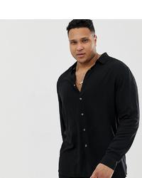 ASOS DESIGN Plus Regular Fit Viscose Shirt In Black