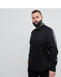 ASOS DESIGN Plus Stretch Regular Fit Shirt In Black