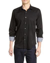 Bugatchi Regular Fit Long Sleeve Jacquard Sport Shirt