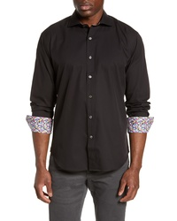 Bugatchi Shaped Fit Floral Cuff Cotton Shirt